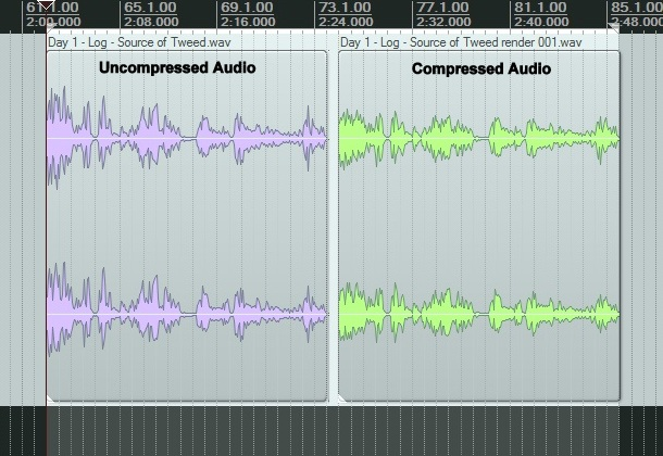 uncompressed and compressed side by side audio pic A